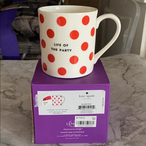 "Kate spade Wickford mug""life of the party"", Bnib"